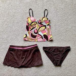 Apt 9 Tankini 10 Brown Pink Swimsuit Sonoma